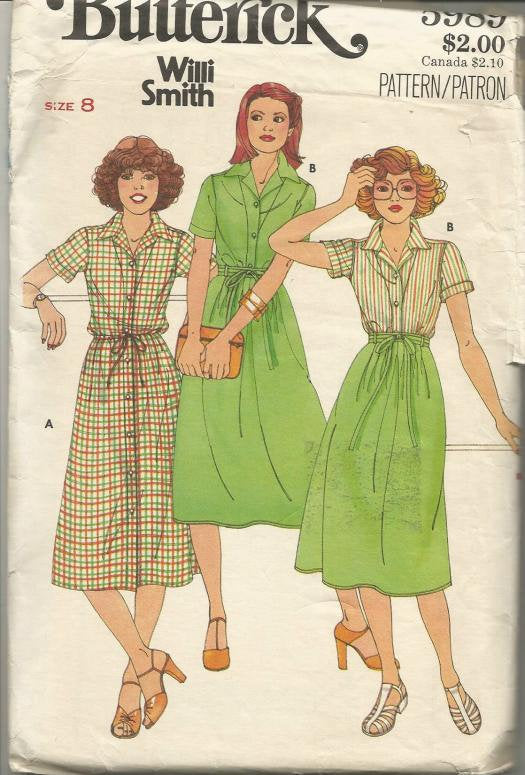 1980s Shirtwaist Dress Blouse with Short Sleeves and Wrap Skirt Butterick 5989 UNCUT FF Bust 31.5 Women's Vintage Sewing Pattern
