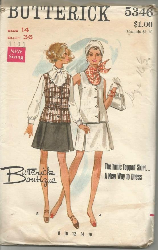 1960s Pleated Skirt and Sleeveless Tunic Top Scoop Neck Butterick 5346 UNCUT FF Bust 36 Women's Vintage Sewing Pattern