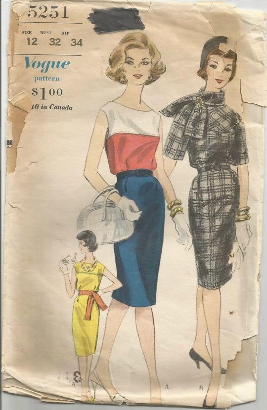 1960s Sheath Dress and Scarf Sleeveless or Elbow Length Sleeves Vogue 5251 Bust 32 Women's Vintage Sewing Pattern