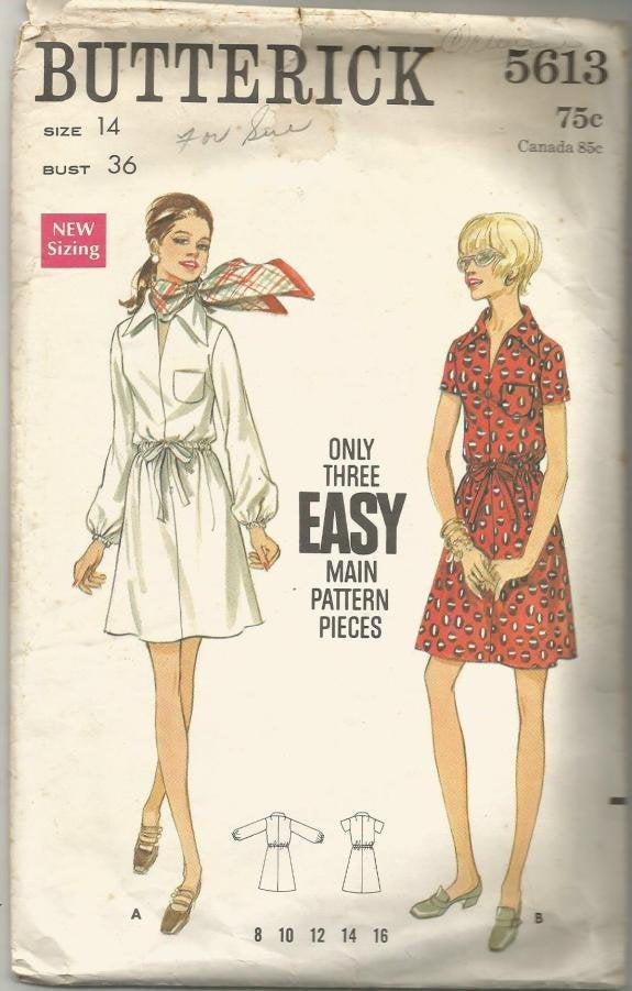 1960s Easy to Sew A-Line Dress Short or Long Sleeves Shaped Collar Butterick 5613 Bust 36 Women's Vintage Sewing Pattern