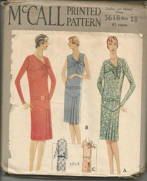 1920s Asymmetrical V Neck Drop Waist Pleats or Shirring Sleeve Variations McCall 5618 Bust 36 UNCUT FF Women's Vintage Sewing Pattern - Kinseysue's Shop