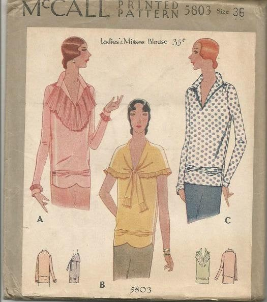1920s Evening Cocktail Blouse V Neckline Jabot Bertha Collar Sleeve Variations McCall 5803 UNCUT FF Bust 36 Women's Vintage Sewing Pattern - Kinseysue's Shop