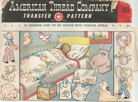 Vintage Baby Toddler Transfers Animals Farm Children 30 Uncut Motifs Vintage Sewing Transfers