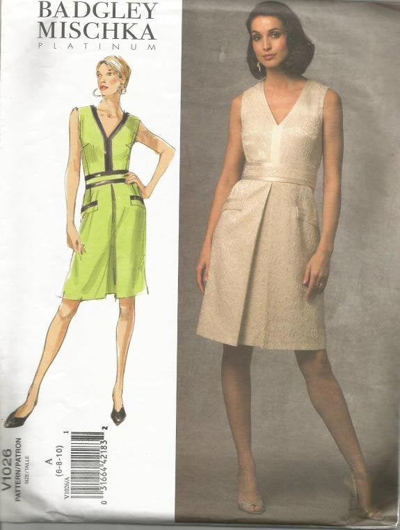 Designer Badgley Mischka OOP Sleeveless V Neck Front Pleat Dress Easy to Sew Vogue 1026 UNCUT FF Sizes 6,8,10 Bust 30.5 31.5 32.5 Women's Dress Sewing Pattern