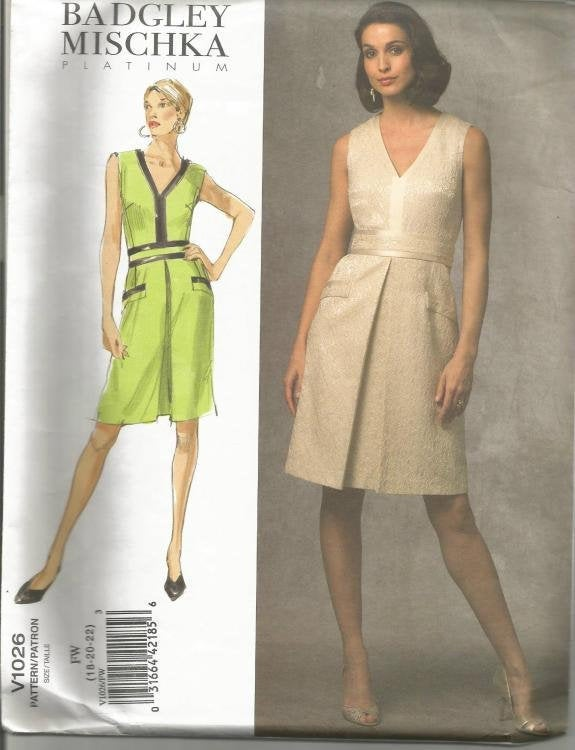 Designer Badgley Mischka OOP Sleeveless V Neck Front Pleat Dress Easy to Sew Vogue 1026 UNCUT FF Sizes 18,20,22 Bust 40 42 44 Women's Dress Sewing Pattern