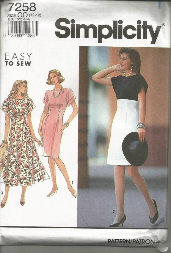 1990s Easy to Sew Dress Slim Skirt or Full Empire Waist Short Sleeves Simplicity 7258 UNCUT FF Size 12-18 Women's Vintage Sewing Pattern