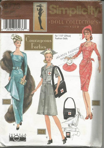 Fashion Doll Clothes 11.5 Inch Doll 1940s Wardrobe Red Cross Day Dress Evening Dress Doll Clothes Sewing Pattern Simplicity 9773 UNCUT FF