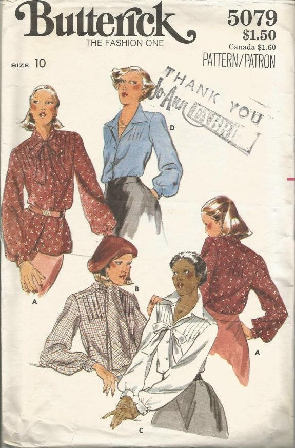 1970s Women's Long Sleeve Blouses Four Styles Butterick 5079 Size 10 Bust 32.5 Women's Vintage Sewing Pattern