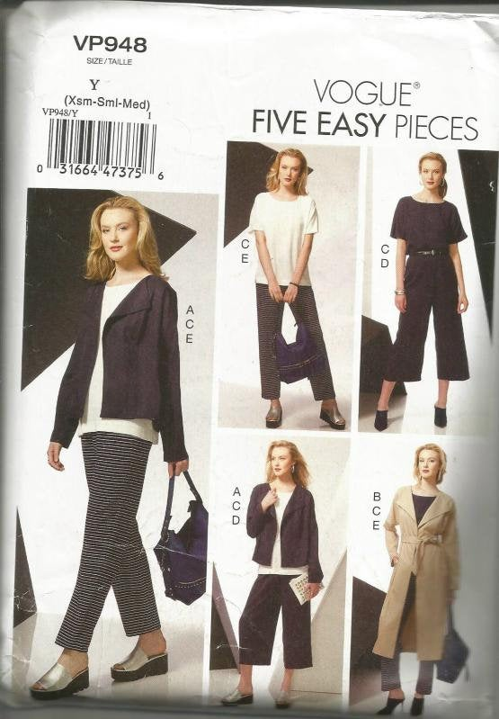 Women's Easy to Sew Wardrobe Jacket Belt Top Pants Length Variations Vogue 948 UNCUT FF Sizes XS-S-M Bust 29.5-36 Women's Sewing Pattern