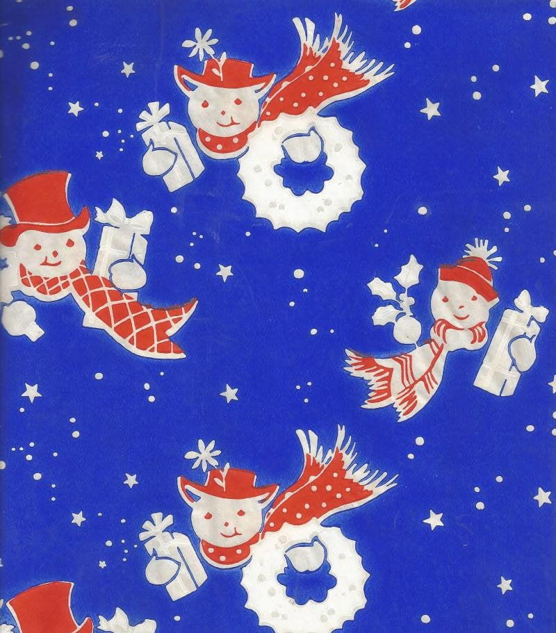 1940s - 1950s Vintage Christmas Gift Wrap Snowman in Red Top Hat White Christmas Tree on Blue Vintage Christmas Wrapping Paper - Kinseysue's Shop