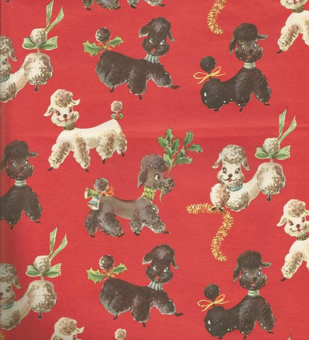1950s Christmas Wrapping Paper Christmas Poodles Vintage Christmas Gift Wrap Christmas Decor
