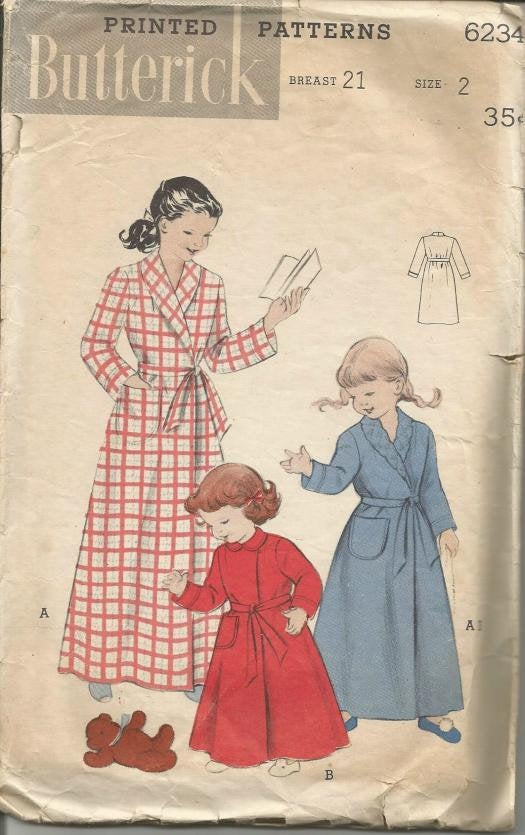 1950s Toddler Girl's Long Wrap Around Robe Shawl or Peter Pan Collar Butterick 6234 Size 2 Girls' Vintage Sewing Pattern