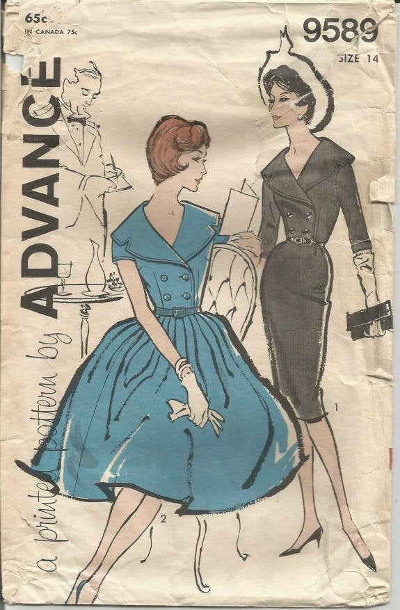 1960s Sheath or Bouffant Skirt Dress Double Breasted Portrait Collar V Neck Advance 9589 Bust 34 Women's Vintage Sewing Pattern