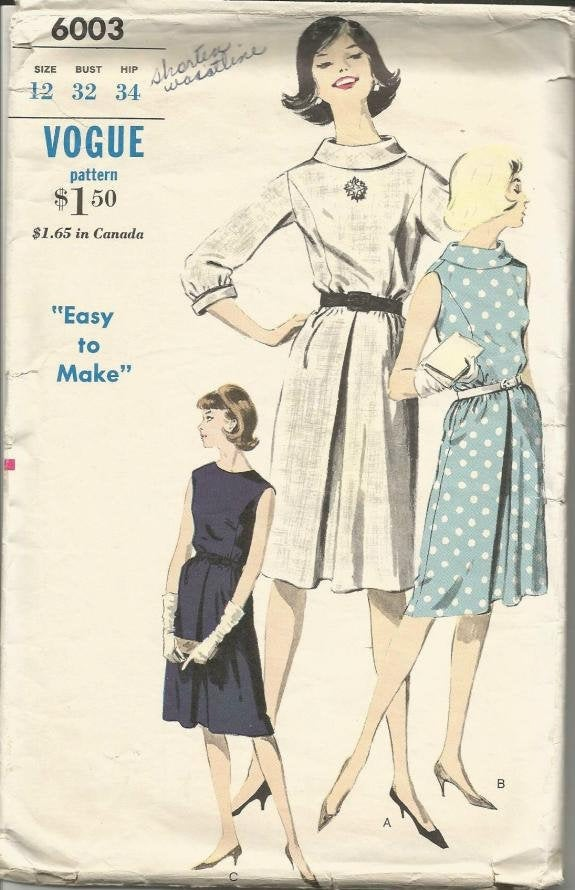1960s Easy to Sew Dress Flared Pleated Skirt Sleeve Variations Bias Roll Collar Option Vogue 6003 Bust 32 Women's Vintage Sewing Pattern