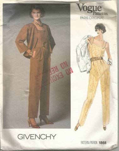 1980s Givenchy Sleeveless Jumpsuit Square Necklines V Neck Jacket Day Evening HTF  Vogue 1868 Bust 31.5 Uncut FF Women's Vintage Sewing Pattern