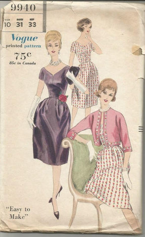 1960s Cocktail Dress Bell Skirt V Neckline Short Sleeves with Bolero Jacket Easy to Sew Vogue 9940 Bust 31 Women's Vintage Sewing Pattern