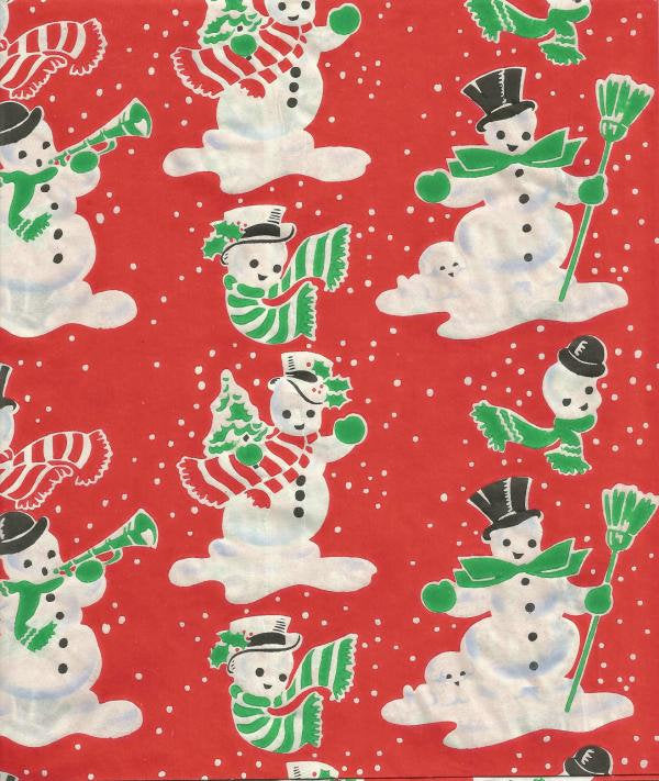 1940s Vintage Christmas Wrapping Paper Snowmen on Red Christmas Gift Wrap One Flat Sheet
