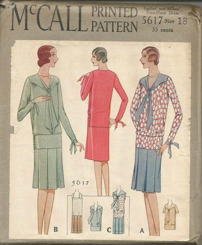 1920s Two Piece V Neck Dress Front Pleated Skirt with Attached Camisole McCall 5617 Bust 36 UNCUT FF Women's Vintage Sewing Pattern - Kinseysue's Shop