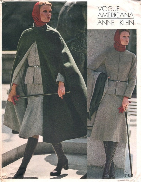 1970s Anne Klein Vogue Americana Steampunk Cape Jacket Skirt Pants Blouse Partially Cut Vogue 1160 Size 10 Bust 32.5 Vintage Sewing Pattern