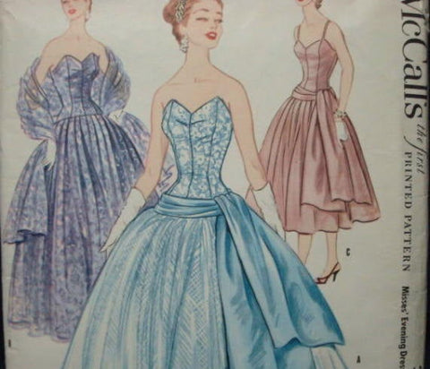 1950s Strapless Cocktail Ball Gown Evening Gown  Dress Bodice Stays Fit & Flare McCall's 3296 Uncut FF Bust 34 Womens Vintage Sewing Pattern