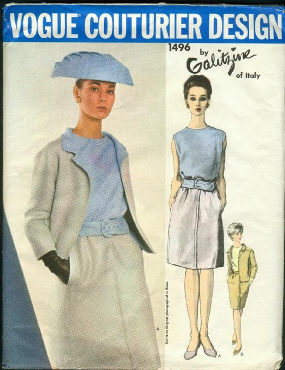 1960s Galitzine Skirt Suit Jacket Sleeveless Blouse Vogue 1496 Size 14 Bust 34 Women's Vintage Sewing Pattern
