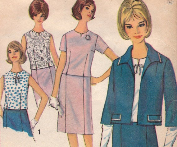 1960s Suit Skirt Sleeveless Blouse Cardigan Jacket Simplicity 5793 Uncut FF Size 18 Bust 38 Women's Vintage Sewing Pattern