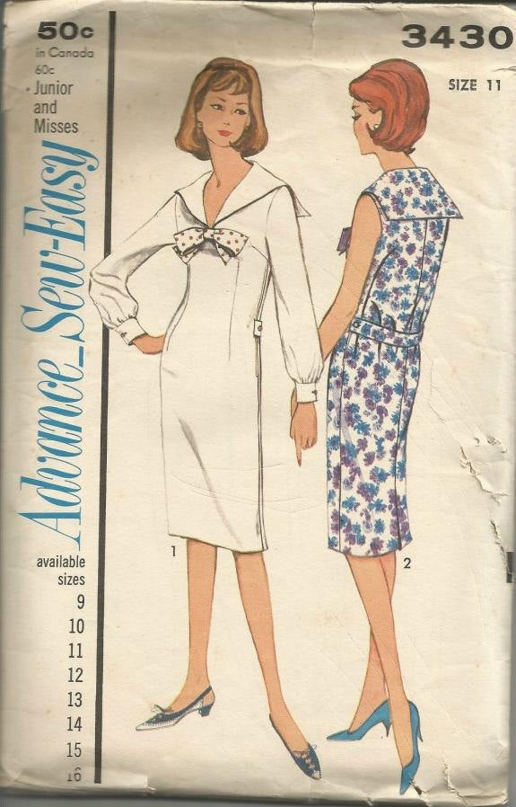 1960s Sheath Dress Princess Seams Sailor Collar V Neckline Long Sleeves Sleeveless Advance 3430 Bust 31.5  Women's Vintage Sewing Pattern