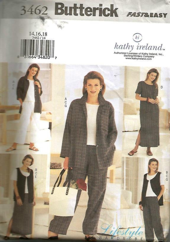 Kathy Ireland Fast and Easy Misses Weekender Wardrobe Jacket Vest Top Dress Skirt Pants Butterick 3462 Uncut FF Sizes 14-16-18 Bust 36 38 40