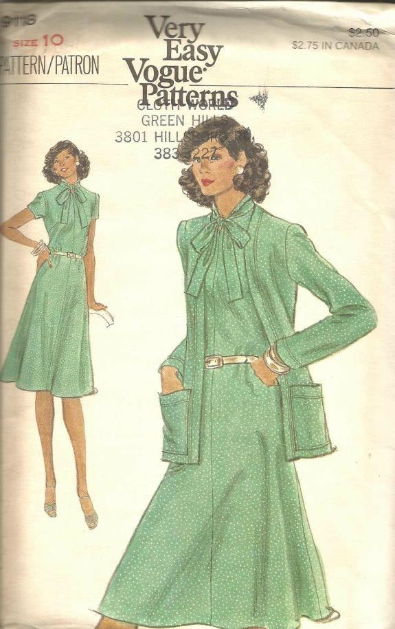 1970s Short Sleeve Flared Dress & Cardigan Jacket Vogue 9118 Uncut FF Sz 10 B 32.5 Women's Vintage Sewing Pattern
