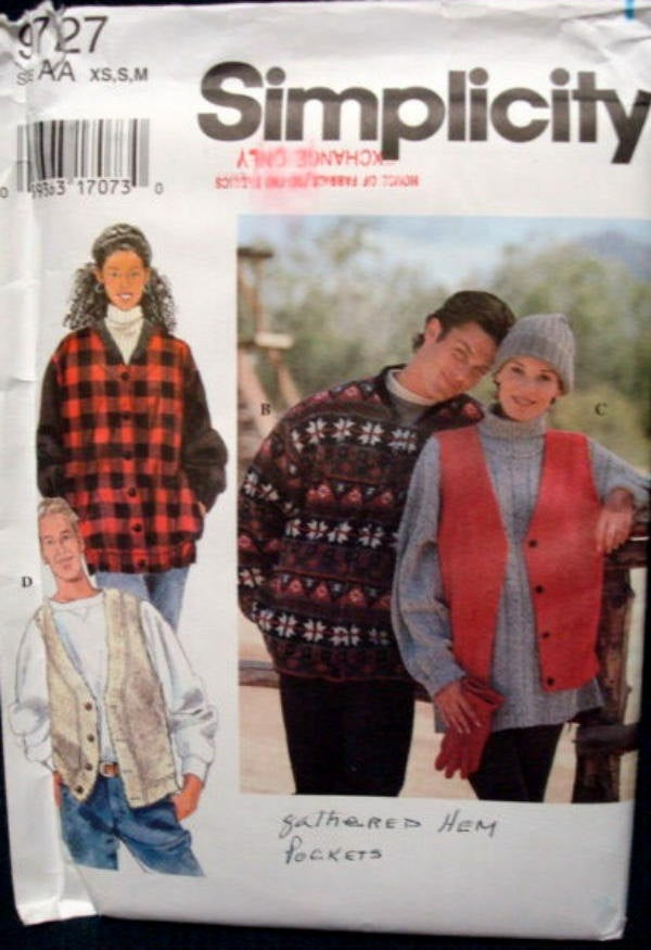 UNCUT Unisex Unlined Fall/Winter Lumberjack Jacket & Vest Button Front Side Pockets Simplicity 9727 Sizes XS, S, M Chest/Bust 30 - 40