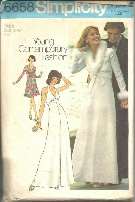 1970s Plunging Neckline Halter Dress Jacket Evening Dress Empire Waist Simplicity 6658 Uncut FF Size 8 Bust 31.5 Vintage Sewing Pattern