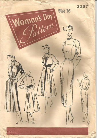 1950s Cocktail Dinner Sheath Redingote Bolero Princess Seams Pauline Trigere Womans Day 3267  Bust 32 Women's Vintage Sewing Pattern
