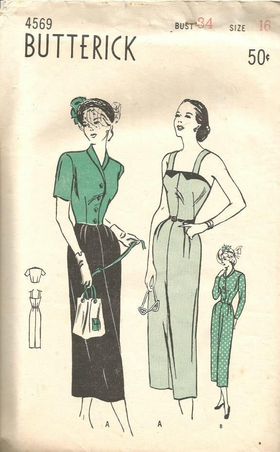 1940s Sheath and Bolero Jacket Sundress Short or Long Sleeves Dinner Cocktail Butterick 4569 Bust 34 Women's Vintage Sewing Pattern