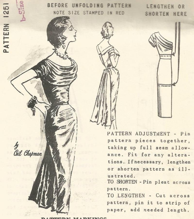 1950s Ceil Chapman Cocktail Dinner Dress American Designer Spadea 1251 UNUSED FF Draped Neck Fan Drape Back Women's Vintage Sewing Pattern