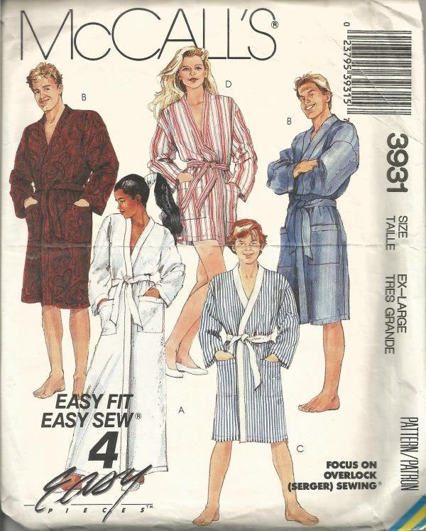 1980s Unisex Robe in Three Lengths Size XL Chest/Bust 44-46 McCall's 3931 Uncut FF Men's Women's Vintage Sewing Pattern