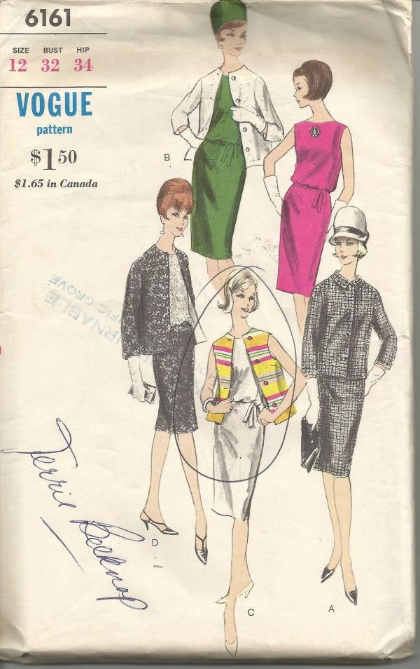 1960s Sleeveless Sheath Cocktail Dress Box Jacket Roll Collar Vogue 6161 Uncut FF Size 12 Bust 32 Women's Vintage Sewing Pattern
