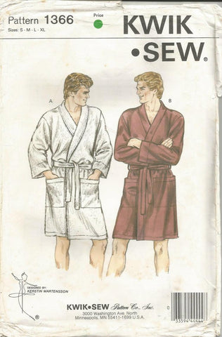 1980s Men's Wrap Robe Shaving Coat Patch Pockets Kwik Sew 1366 UNCUT FF Sizes S - XL Chest 34 - 48 Men's Vintage Sewing Pattern