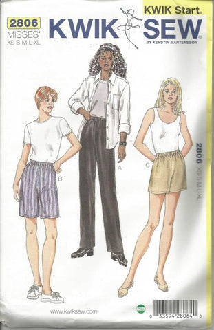 Easy to Sew Misses' Shorts in Two Lengths & Pants Kwik Sew 2806 Sealed UNCUT FF Size XS - XL Waist 22 - 37 Women's Sewing Pattern