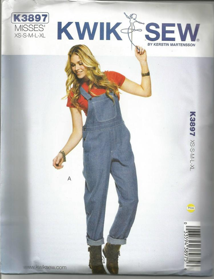 Misses Overalls Dungarees in Two Lengths Kwik Sew 3987 UNCUT FF Not a Repro or PDF Sizes XS-XL Waist 22.5-37 Women's Sewing Pattern