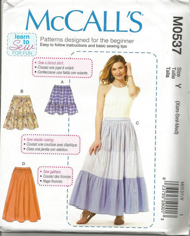 Misses' Tiered Flared Skirts Learn to Sew for Fun McCall's M0537 UNCUT FF Size XS-M Waist 22 - 28