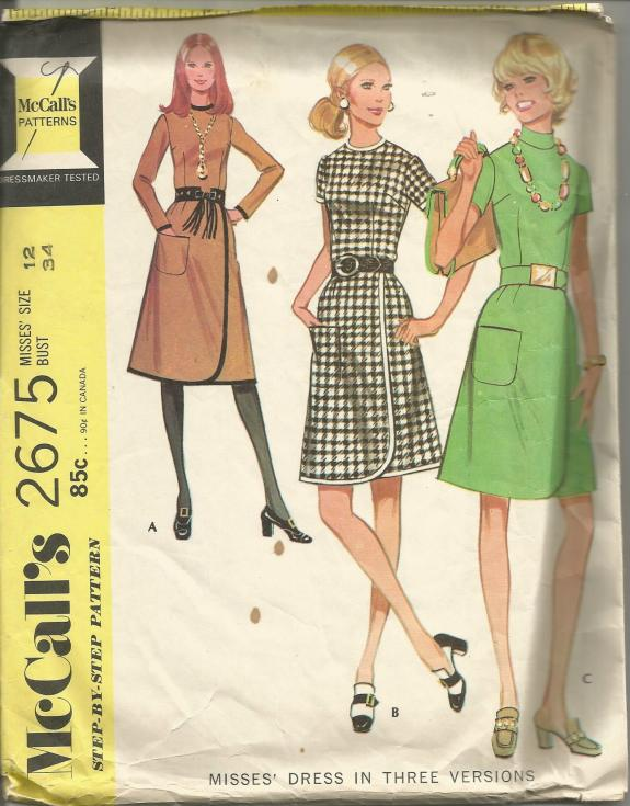 1970s Wrap Skirt Dress in Three Versions Sleeve and Neckline Variations McCall's 2675 C/C Bust 34 Women's Vintage Sewing Pattern