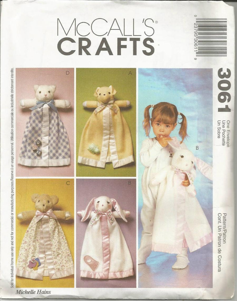 2000s Blanket Buddies Dog Bunny Cat Bear Child's Toy Blanket McCall's 3061 UNCUT FF