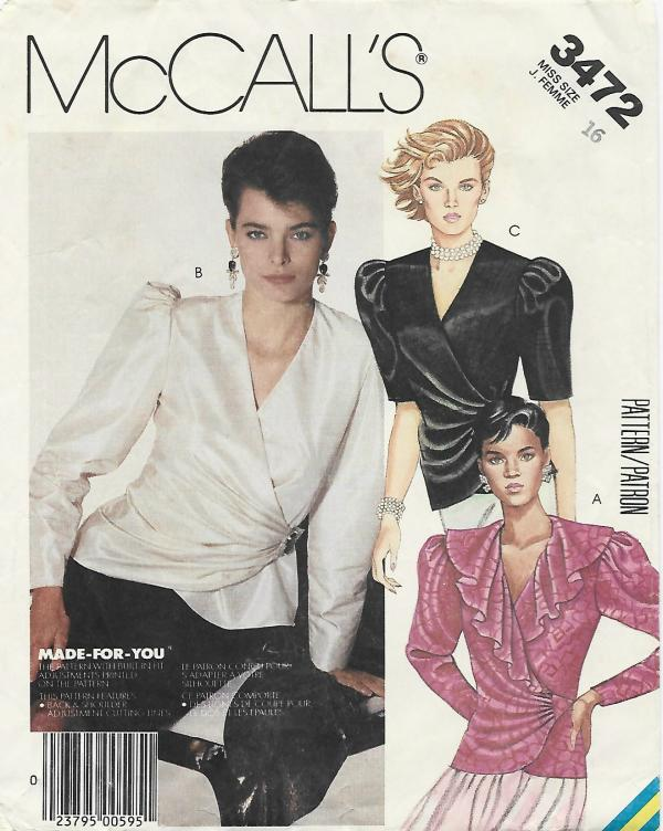 1980s Front Wrap Blouse Day/Evening McCall's 3472 C/C Size 16 Bust 38