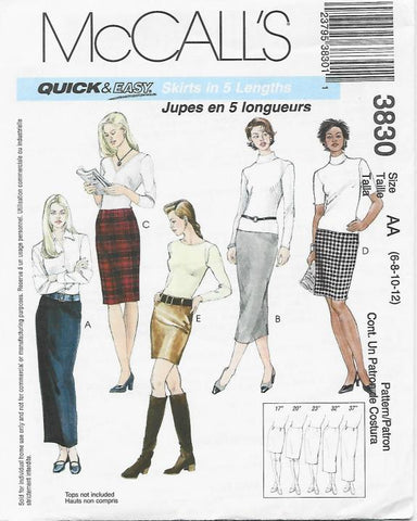 Quick & Easy Skirts in Five Lengths Only 5 Pattern Pieces McCall's 3830 UNCUT FF Sizes 6/8/10/12