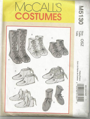 Women's and Men's Historical Footwear Moccasins Seven Styles All Sizes 5 - 13 McCall's 5130 UNCUT FF Theater Costume Historical Sewing Pattern