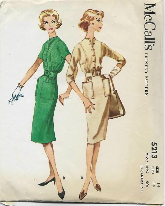 1950s Slim Dress Sleeve Variations McCall's 5213 C/C Bust 34