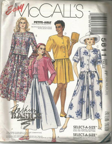 1990s Two Piece Dress Top/Skirt/Divided Skirt Plus Size McCall's 5811 UNCUT FF Sizes 16-22 Bust 38-44 Women's Vintage Sewing Pattern