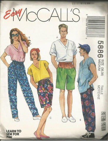 1990s Unisex Oversized Top Shorts Pants Easy to Sew McCall's 5886 UNCUT FF Bust/Chest 36/38 Women's or Men's Vintage Sewing Pattern