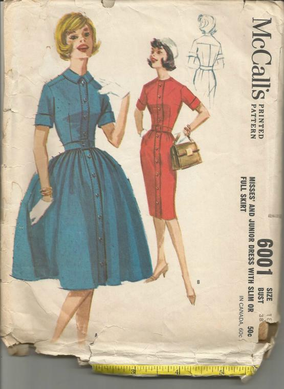 1960s Slim or Full Skirt Dress Short Sleeves Shirtwaist Rockabilly Full Figure Plus Size McCall's 6001 UNCUT FF Bust 38 Women's Vintage Sewing Pattern