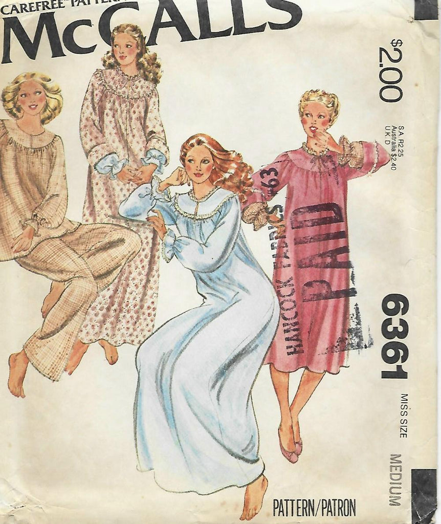 McCall's 6361 Uncut Robe/Nightgown/PJs Bust 36-38
